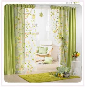 家庭田园风格客厅窗帘装修效果图