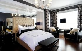 美式卧室床头软包装饰效果图
