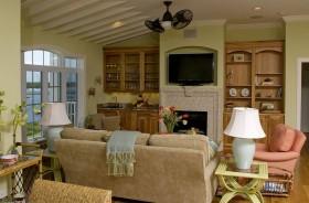美式田园客厅背景墙装修效果图