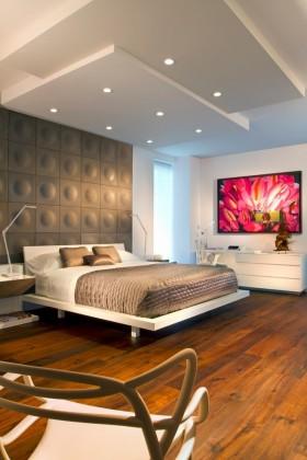现代简约卧室床头造型图片