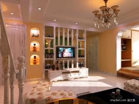 田园风格客厅电视背景墙装饰图片