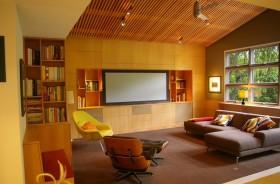 现代客厅原木电视柜背景墙效果图