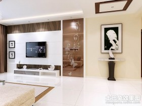 现代风格客厅白色电视背景墙装修效果图