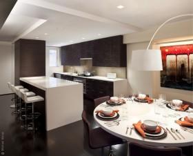 现代三居厨房餐厅装修一体