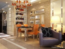 欧式餐厅酒柜装饰效果图