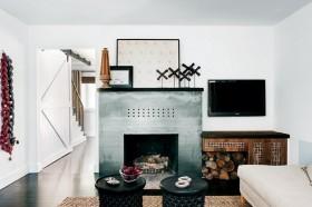 地中海小復式客廳液晶電視墻裝修圖片