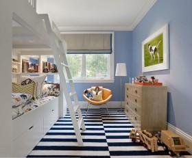 上下铺儿童房效果图 条纹地毯图片