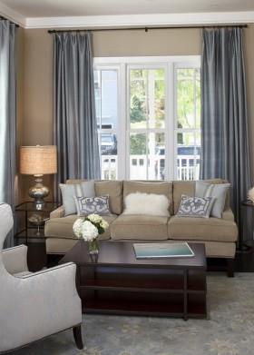 现代客厅窗帘效果图片