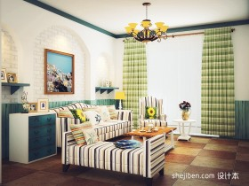 地中海客厅沙发背景墙装修效果图