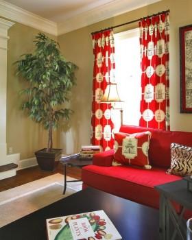 田园客厅窗帘图片