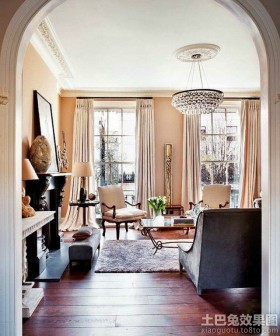 别墅客厅过道木地板贴图