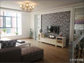 二居客厅电视背景墙装修效果图