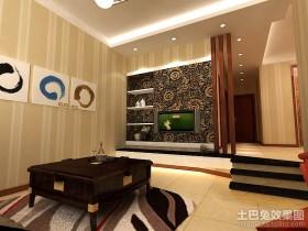 简约风格客厅电视墙壁纸装修效果图