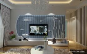 地中海风格电视墙装修效果图