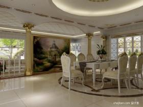 欧式餐厅背景墙装修设计效果图