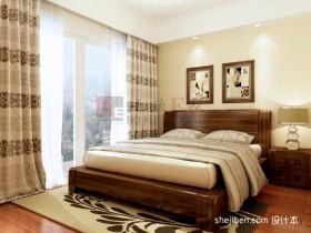 中式卧室实木床图片
