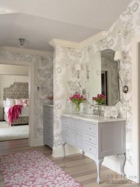 卫生间壁纸欧式简约卫生间壁纸装修效果图
