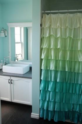 简约卫生间洗浴间窗帘图片隔断