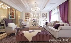 现代简约复式楼客厅吊顶灯装饰效果图