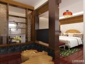 新中式卧室隔断装修效果图