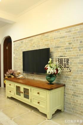 田园风格电视柜田园仿古砖电视背景墙装修效果图大全