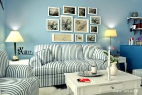 客厅条纹沙发图片