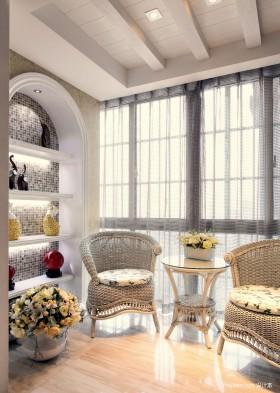 新古典客厅休闲区窗帘效果图