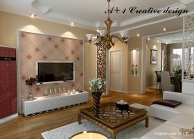 新古典客厅电视背景墙装修效果图大全2013图片