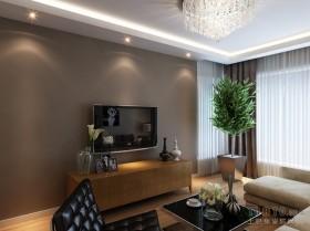 三居样板房客厅电视背景墙装修图片