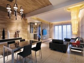 简约三居客厅餐厅一体装修效果图片