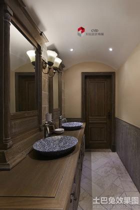 美式卫生间洗手盆装修效果图