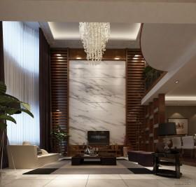 中式家装别墅客厅电视背景墙装修效果图