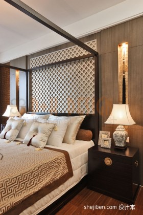 三居室中式卧室样板房