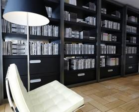 现代书房书架装修效果图