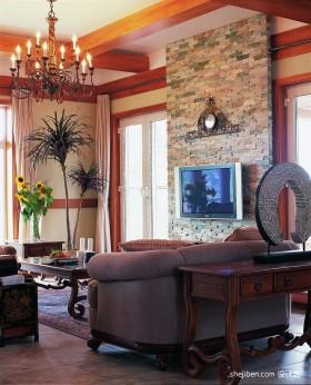 田园客厅电视背景墙装修效果图片