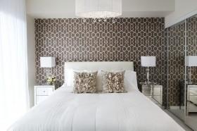 简约卧室床头壁纸装修效果图