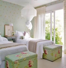 欧式风格窗帘欧式田园双人卧室装修效果图