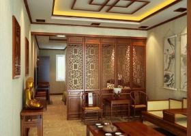 中式客厅玄关隔断效果图