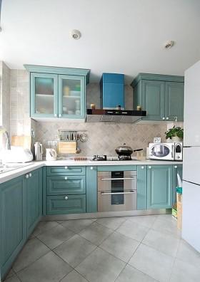 地中海风格L型厨房橱柜装修效果图