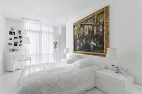 纯白卧室床头背景墙效果图