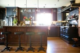 美式复古开放式厨房吧台装修效果图