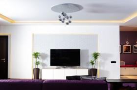 现代白色电视背景墙装修效果图