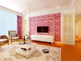 田园小客厅壁纸电视背景墙装修效果图