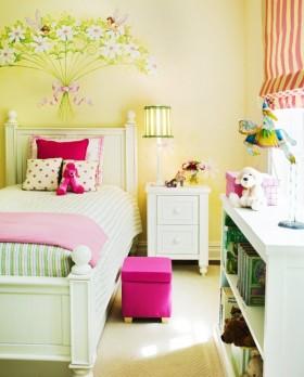 卧室背景墙床2013简约儿童房卧室装修效果图