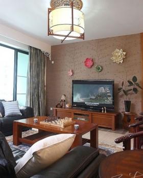 新中式风格客厅电视机背景墙装修效果图