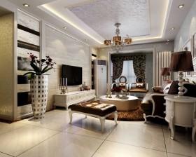 新古典风格家装客厅电视背景墙设计效果图