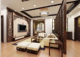 最新中式客厅隔断效果图欣赏