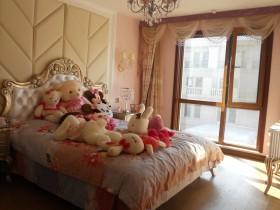 欧式女孩卧室床头软包设计效果图