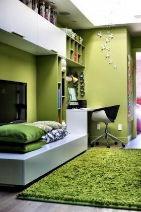绿色卧室书房设计效果图