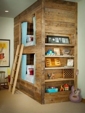儿童房原木色卧室装修样板间